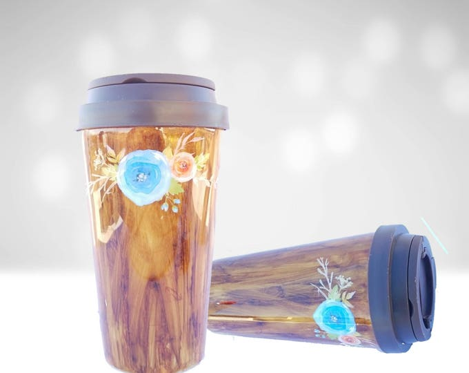 Featured listing image: Woodgrain finish travel coffee mug/Coffee to go mug/Coffee Tumbler/Coffee Travel mug