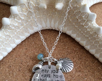 BEACH Saying Charm - Shell in Pocket & Sand Between Toes w/ Shell Charms, FW Pearl Dangle - Crystal Dangle - Silver Necklace - Beach Wedding