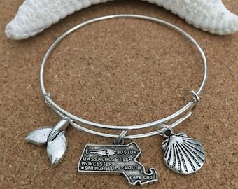 CAPE COD, MA Charm Bracelet - Silver-Plated Bangle - Massachusetts State Charm, Whale Tail Charm, Clam Shell Charm-Cape Cod Bracelet, Beach