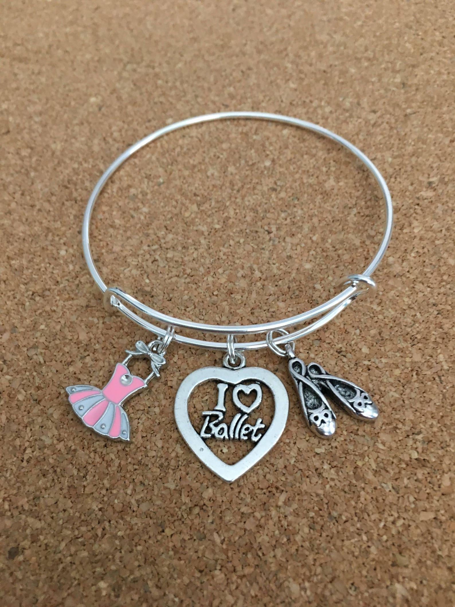 i love ballet charm bracelet, silver-plated bangle, pink enamel ballet dress, i love ballet heart charm, ballet shoes charm, gir