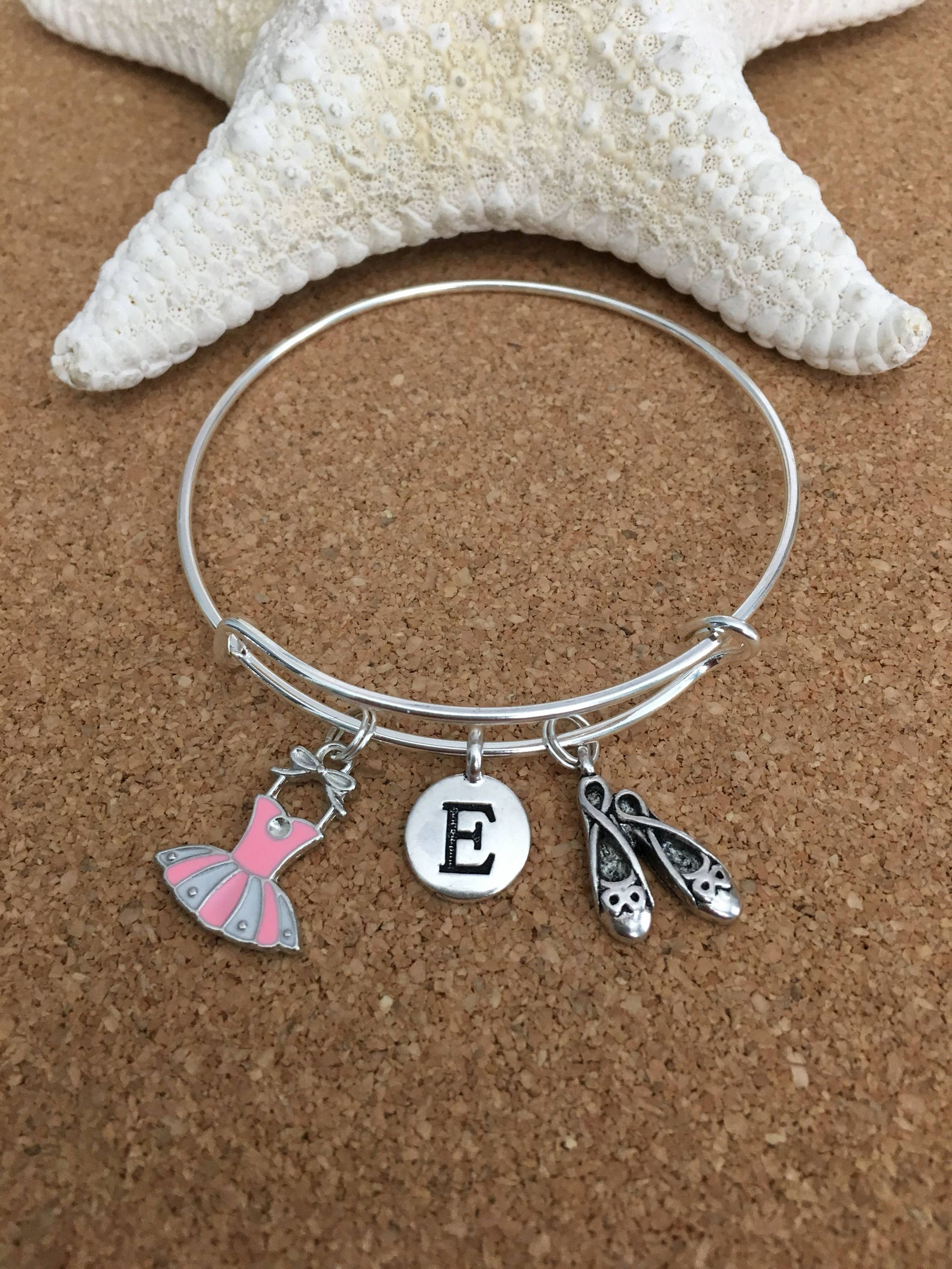 pink ballet charm bracelet, silver-plated bangle, pink enamel ballet dress charm, ballet shoes charm + silver initial + girls or