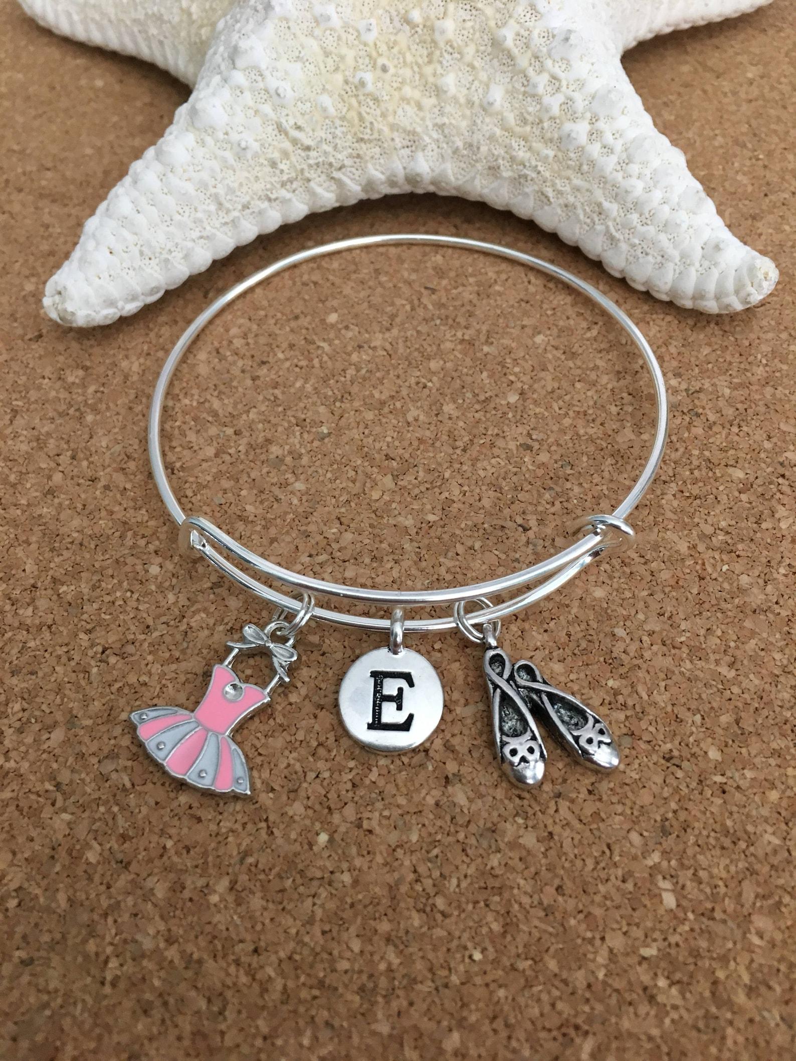 pink ballet charm bracelet, silver-plated bangle, pink enamel ballet dress charm, ballet shoes charm + silver initial + girls or