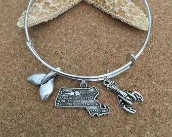 CAPE COD, MASSACHUSETTS Charm Bracelet - Silver-Plated Bangle - Massachusetts State Charm, Whale Tail Charm, Lobster Charm-Cape Cod Bracelet