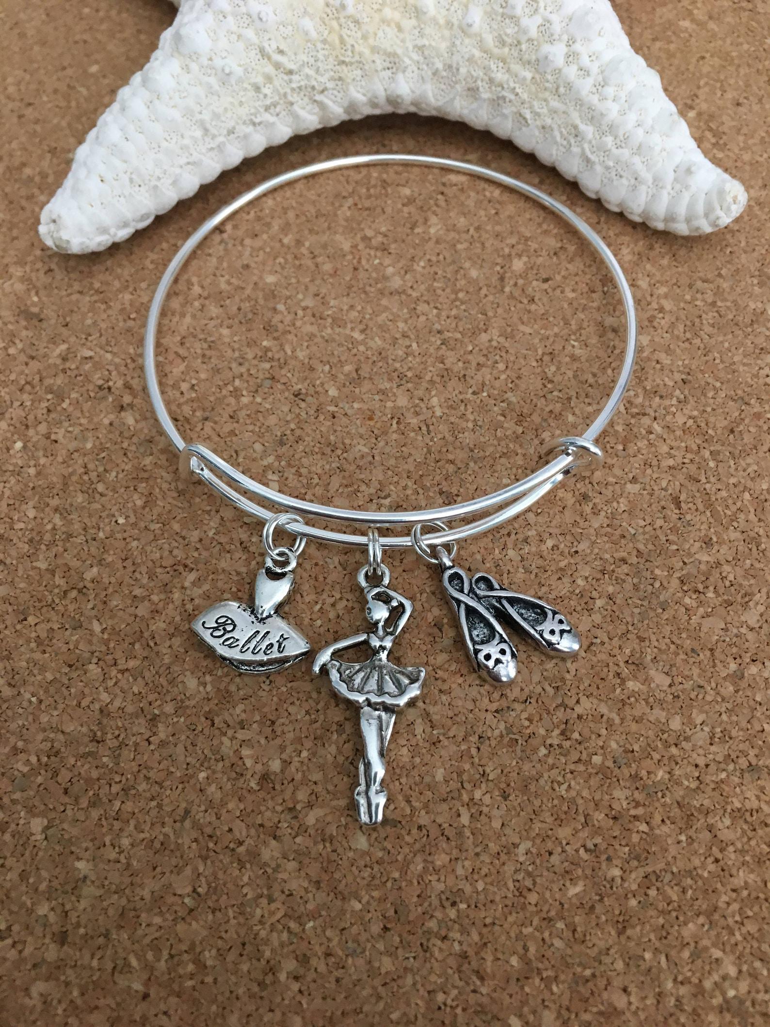 ballet charm bracelet, silver-plated bangle - ballet dress charm, ballerina charm, ballet shoes charm, choose girls or ladies, d