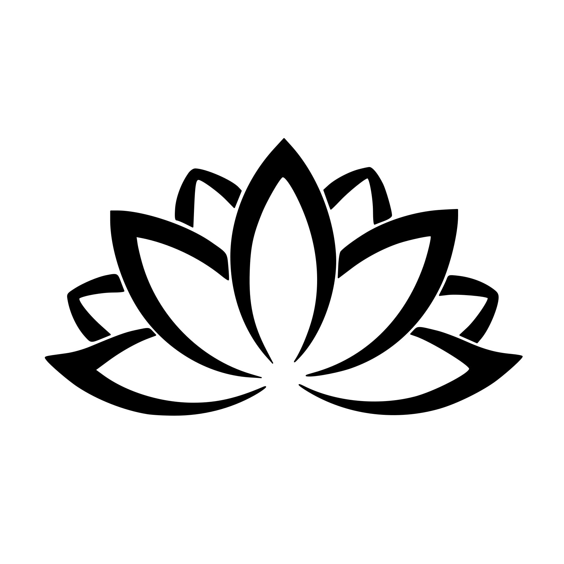 Lotus Flower Outline Vinyl Decal Any Color Any Size Etsy