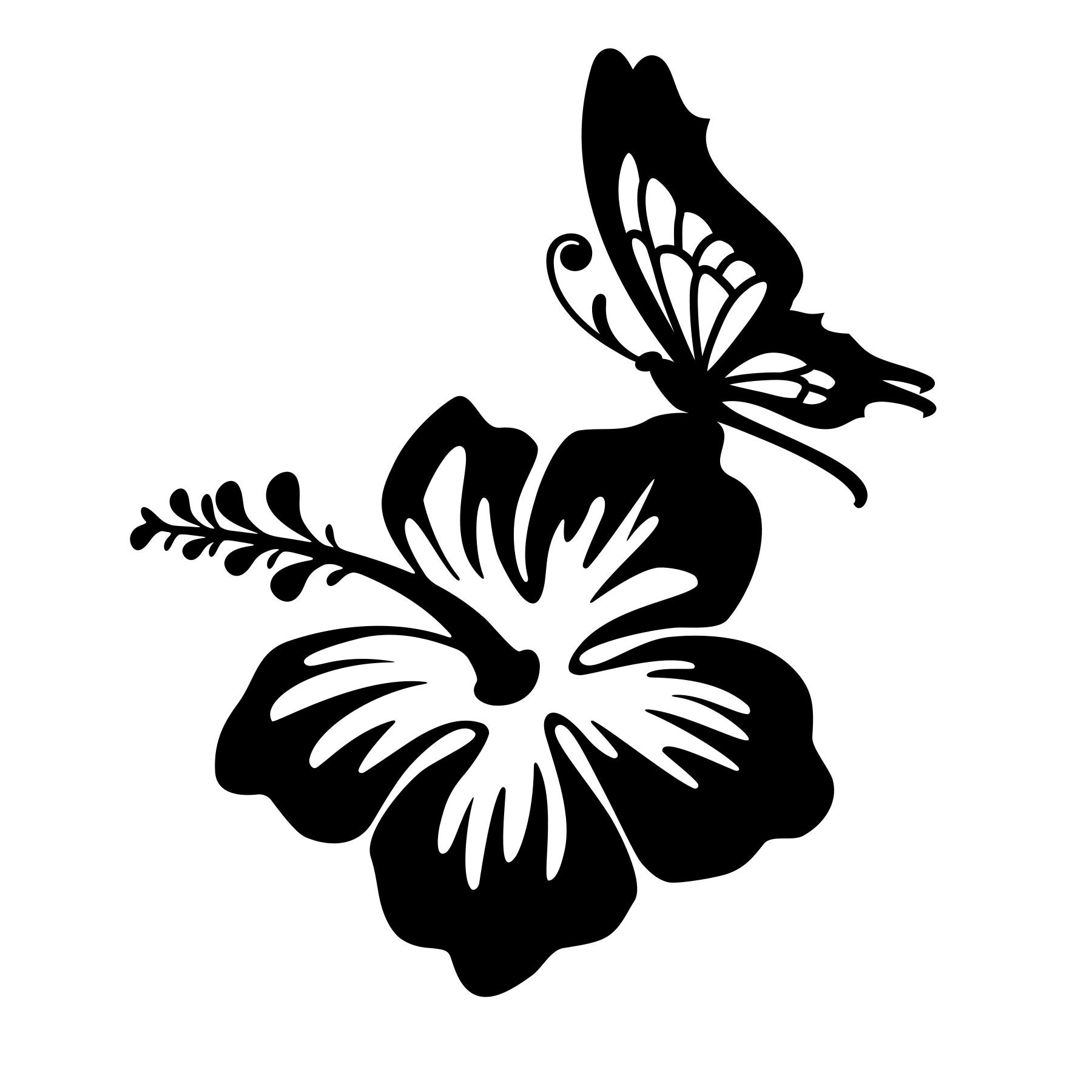 Hibiscus flower and butterfly vinyl decal any color any etsy zoom izmirmasajfo