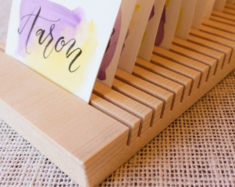 Wood envelope etsy 34 tall card and envelope drying rack wedding card business card name tag card holder 20 slots reheart Images