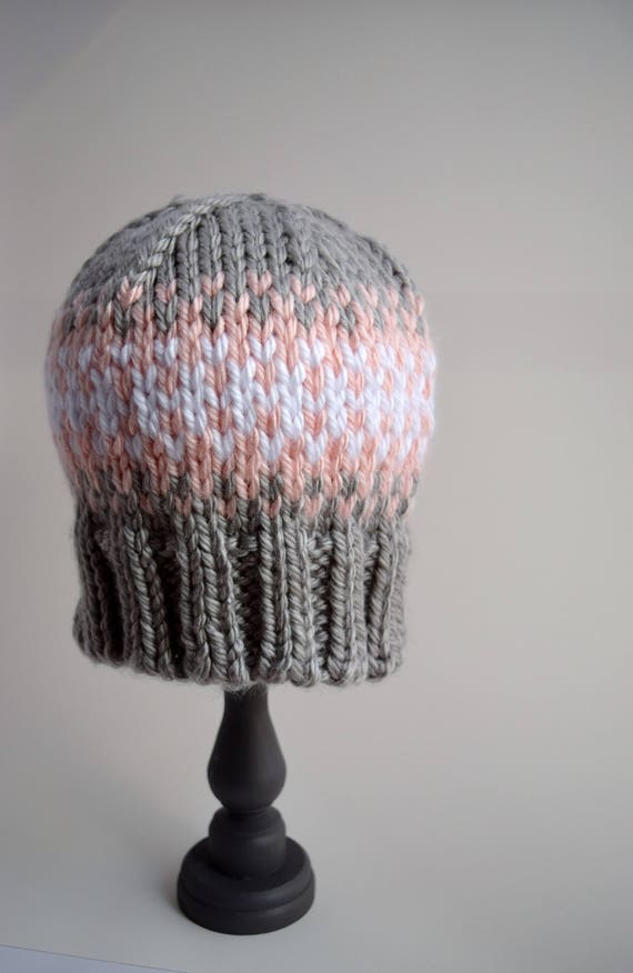456319c2d55 Gray Pink and White Fair Isle Beanie Adult Sized Hand Knit