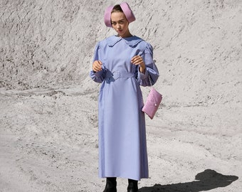 Peter pan frill collar dress- pversize dress- cotton dress- vintage style dress-puff sleeve-exlusive dress