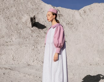 Trapeze midi dress- Polka dot dress- handmade- cotton dress