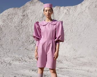 Vintage style jumpsuit- frill jumpsuit- peter pan frill collar jumpsuit-Puff sleeves- folk style- utility shorts- jumpsuit in pink