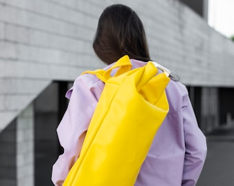 Banana backpack, One strap backpack, Yellow sport backpack, Exclusive design duffel, Duffel style bag