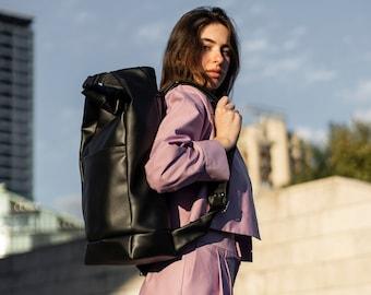 Urban backpack- vegan leather bag- roll top backpack