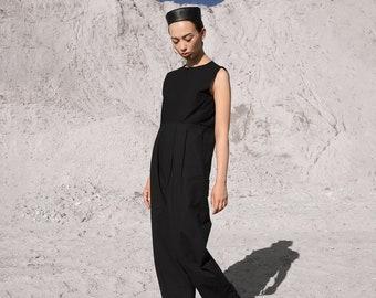 INGA SKRIPKA black minimalist style jumpsuit-  Loose cotton romper