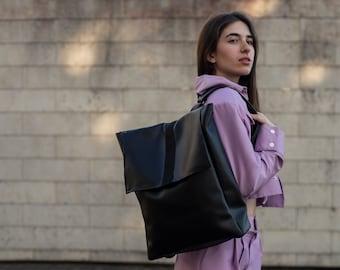 Faux leather backpack- Handmade- Inga Skripka design