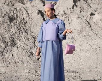 Cotton dress- three ways to wear- peter pan frill collar- big collar dress