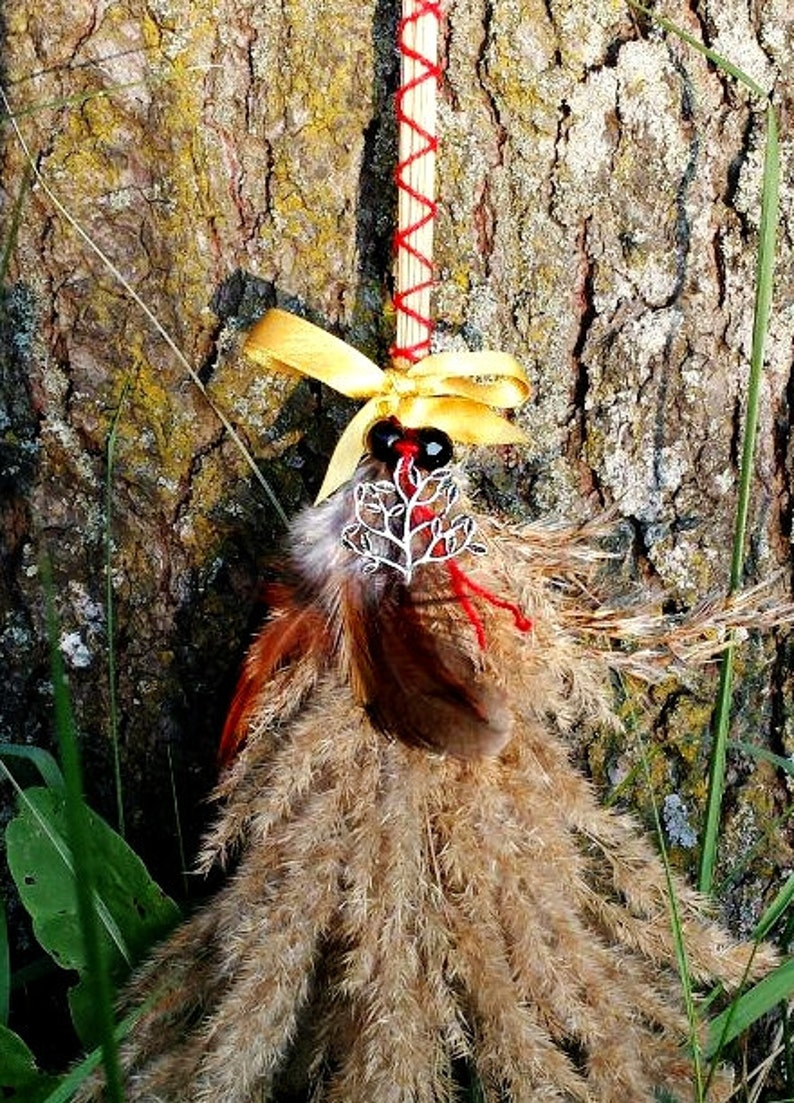 Witches broom besom mabon ritual altar tool pagan wiccan red and yellow  broom with tree of life and satin ribbon and two black glass beads