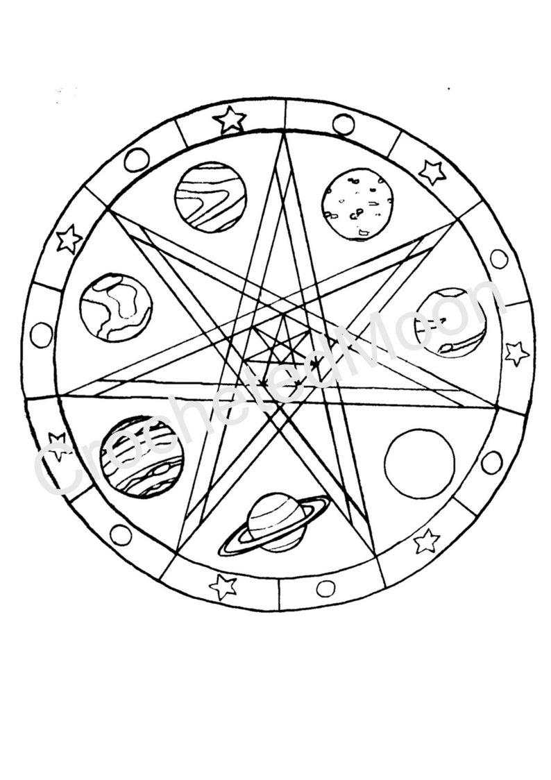 Druckbare Faerie Sterne Planeten Malvorlagen Digital Download Wicca Heidnischen Mandala Für Kinder Und Erwachsene Magie Hexe Altar Zeichnen