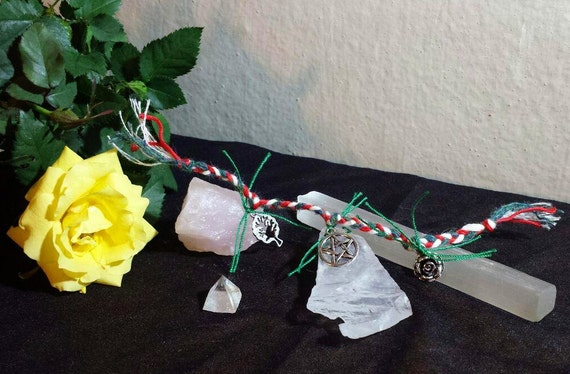Small pocket size witches ladder ritual altar tool witch wiccan pagan  witchcraft rose pentacle tree of life red green white braided cord