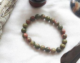 UNAKITE BRACELT   Unakite Jasper Bracelet   Grounding Bracelet   Crystal Healing Bracelet   Unakite Crystals and Stones