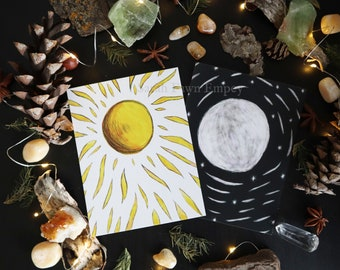 Sun and Moon Set | Post Card Art Prints