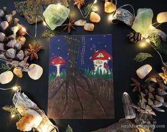 Fae Toadstool Cottage | Post Card Art Print