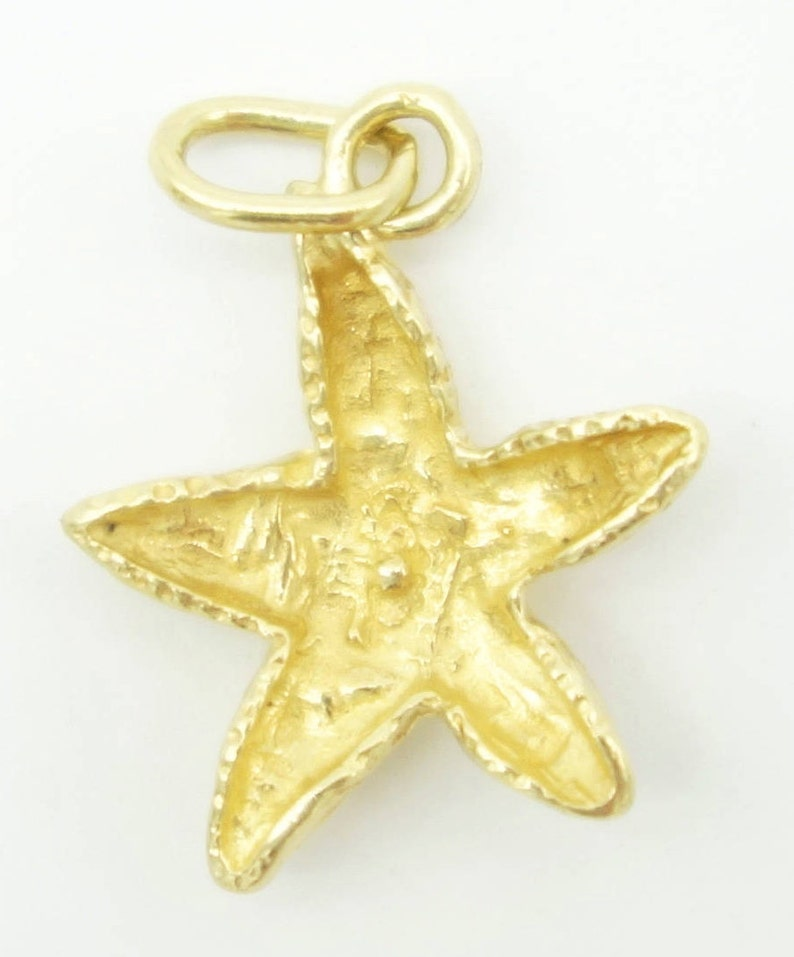 Star Fish Charm For Charm Bracelet Diamond Cut Beach 14k Solid Gold