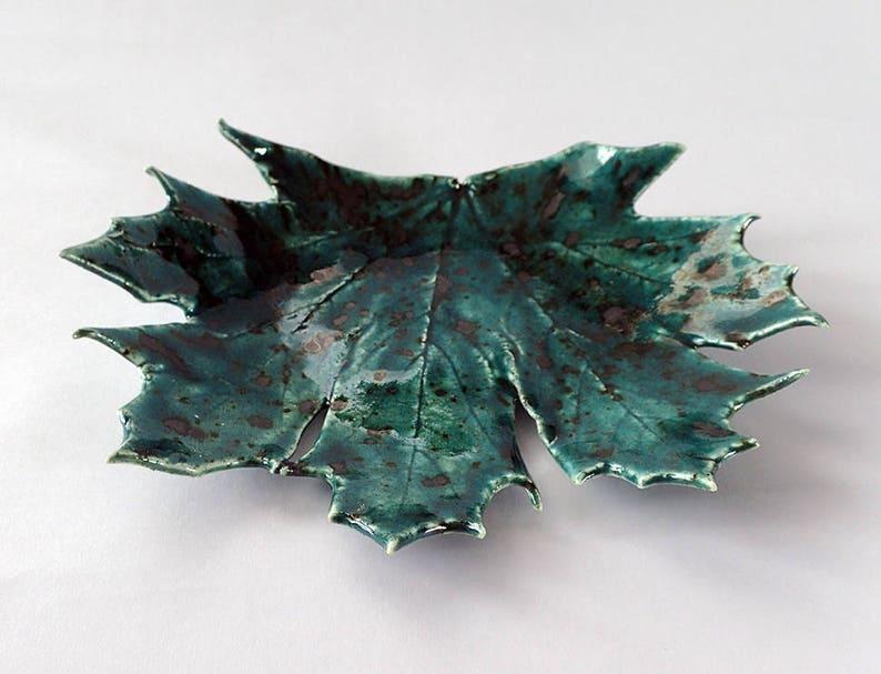 Blue maple leaf dish green porcelain