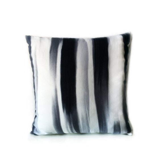 Black And White Abstract by katiekortman Abstract Grayscale Throw Pillow Modern Painting   18x18 Square Throw Pillow by Spoonflower