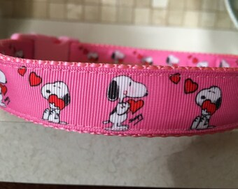 Snoopy Heartcatcher Large and Medium dog collar with optional Matching Leash 8609833a6