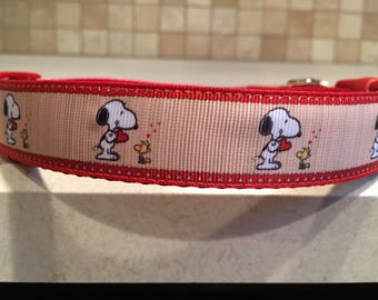 Snoopy Love Large and Medium dog collar with optional Matching Leash 1a8f160c5