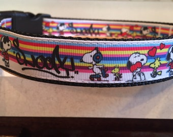 Snoopy Rainbow Large and Medium dog collar with optional Matching Leash 8c1123a39
