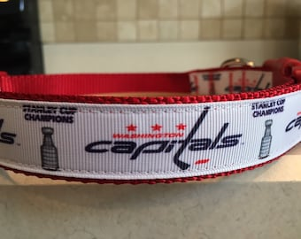 04cb9538a Washington Capitals Stanley Cup Hockey Sports Champions Dog Collar   Matching  Leash ALL SIZES