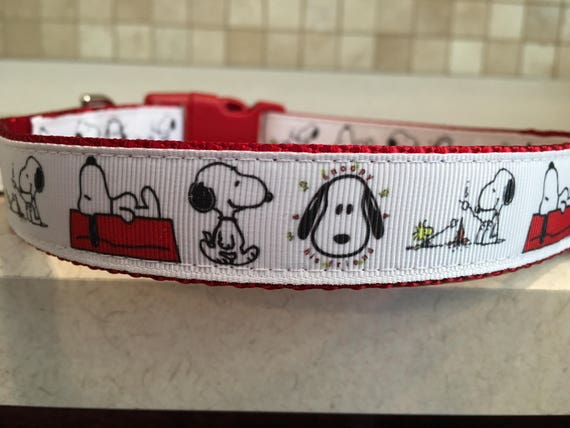 Snoopy Campfire Large and Medium dog collar with optional  e8032a217