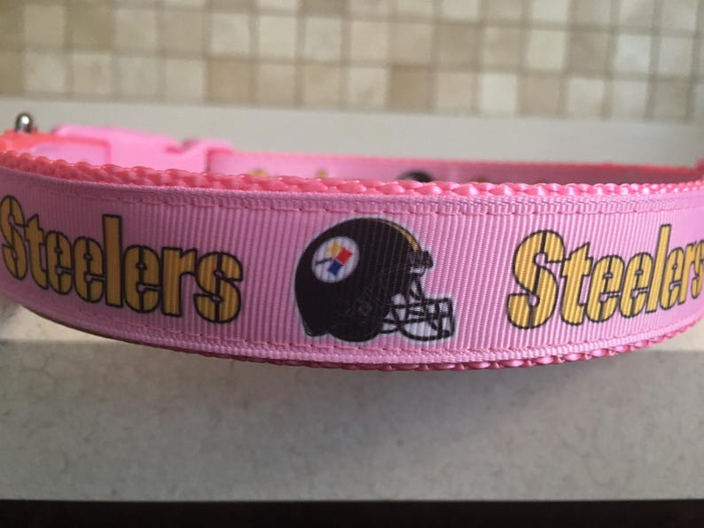 79990d87cf4 Pittsburgh Steelers Pink Female Dog Sports Dog Collar with | Etsy
