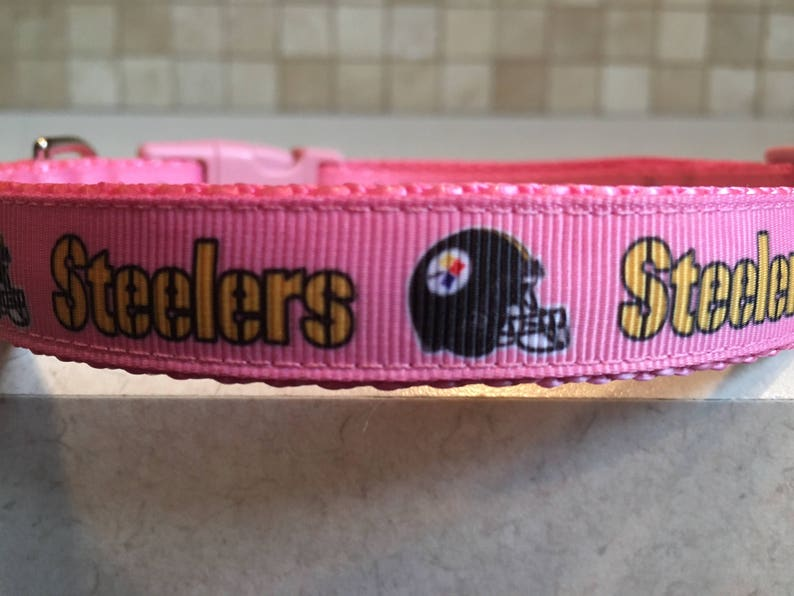 eb4c859adbb Pittsburgh Steelers Pink Dog Collar and Optional Matching | Etsy
