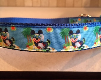 "Malibu Mouse dog collar 1"" size large and medium with optional matching leash"