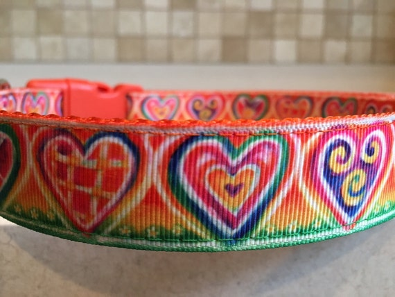 Psychedelic Hearts Medium and Large Dog Collar and Optional  c61a96386