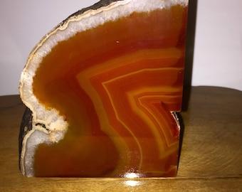 Beautiful Brazil Agate Geod cut stone/ bookend/ paper weight