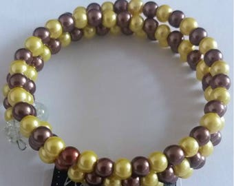 golden and bronze 6mm glass pearl bead wire wrapped bracelet