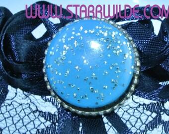 STARR WILDE STEAMPUNK Garter Arm Leg Wedding Red Black Removable Silver Gold Pin Brooch 2 Drops Beaded 1 Gear Drop Victorian Cyberpunk