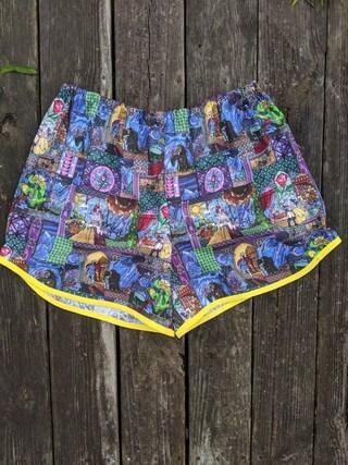Women's Beauty and the Beast Stained Glass Shorts - Women's Disney Shorts - Pajama Shorts - Cotton Lounge Shorts - Scalloped Shorts