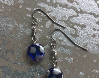 Blue and silver  glass bead earrings