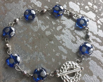 Blue and silver  glass bead bracelet