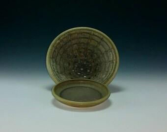 Handmade Ceramic Textured Berry Bowl with Drip Tray, Colander