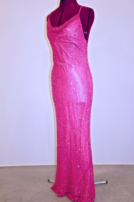 Hot, Hot, Hot Pink Beaded Gown - image 5