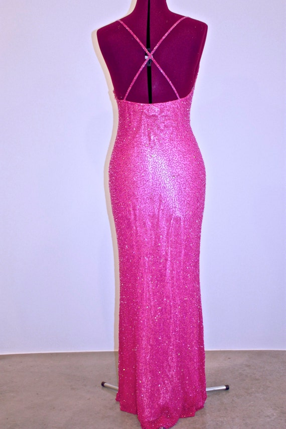 Hot, Hot, Hot Pink Beaded Gown - image 4