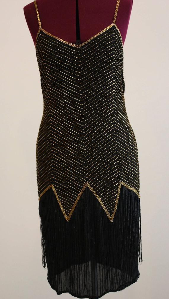 Roaring Twenties Beaded Flapper Style Gown