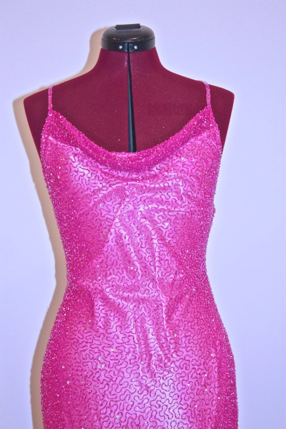 Hot, Hot, Hot Pink Beaded Gown - image 2