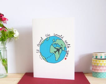 Cute Love Card - I'd travel the world with you / Valentine's Day Card / Anniversary Card